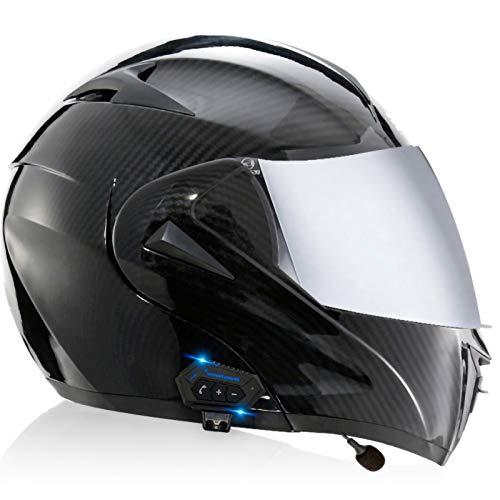 Casco de Moto Modular Bluetooth Integrado con Visera Solar Dual Y Altavoces Duales Cascos de Motocicleta para Adultos Hombres Mujeres, Certificación DOT/ECE C,L=59~60CM