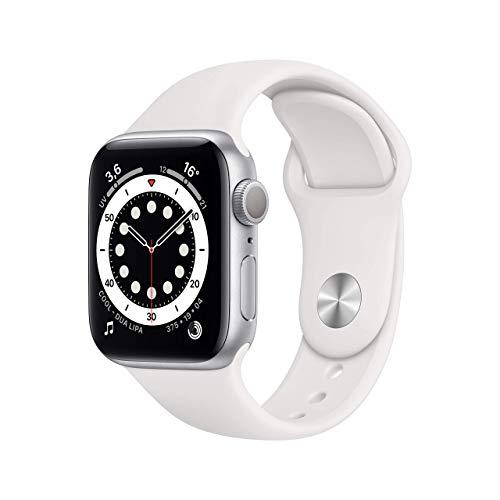 Novità AppleWatch Series6 (GPS, 40mm) Cassa in alluminio color argento con Cinturino Sport bianco