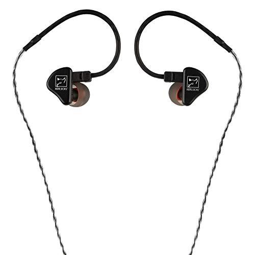 HÖRLUCHS HL1010 In-Ear Kopfhörer, dynamischer Treiber bassverstärkt, ergonomische Bauform mit 2-Pin-Wechselkabel und verschiedenen Domes - Schwarz