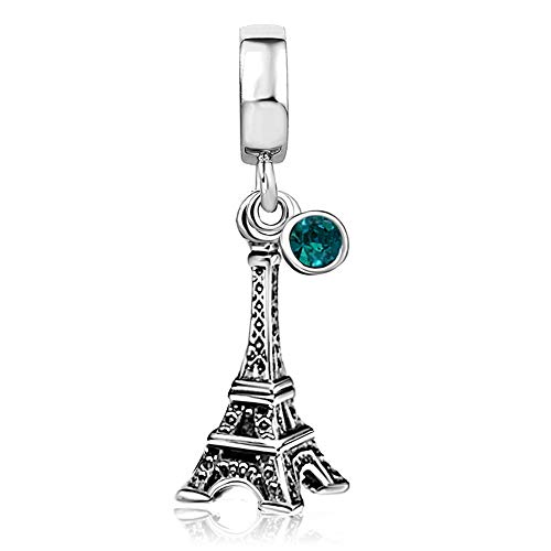 KunBead Paris Eiffel Tower Love Travel Blue Green Crystal December Birthstone Charms for Bracelets