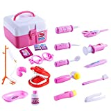 FunsLane Doctor Kit for Kids Dentist Toy, 20 Pcs Dentist Tools Medical Pretend Play Set for Doctor Role Play Costume Dress Up, Educational Toy for Classroom School, Pink