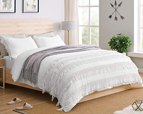 KB & Me Minimalist Boho Chic Solid White Macrame Fringe Knotted Tassel Cotton Duvet Comforter Cover and Sham 3 pc. Full/Queen Size Bedding Set Luxury College