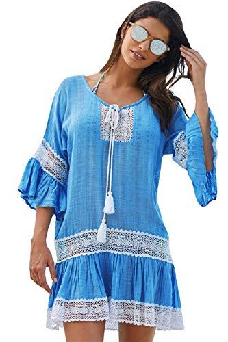 Tuopuda Bikini Cover Up Damen Bikini-Bluse Strand Bluse Lose Mäntel Tunika Outwear Sommer Kleid Strandkleid Lange Ärmel Langes Shirt (Blau)