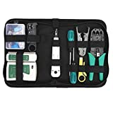 Gaobige Network Cable Repair Maintenance Tool Kit Set 11 in 1 Portable Phone Cable Crimper 8P8C 4P4C 6P6C Connectors RJ45 RJ11 Cat5 Cat6 Cable Tester