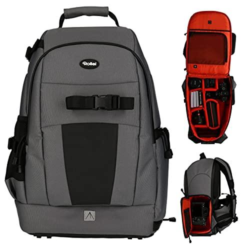 Rollei Fotoliner Ocean M - Mochila para cámara (43 botellas de PET recicladas, incluye protector de lluvia, apto para equipaje de mano, color gris