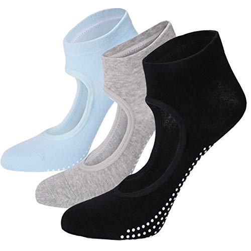 WKTRSM Yoga Socken rutschfeste Damen Baumwollsocken für Pilates, Barre, Ballett, Tanz, Barfuß, Fitness, 3 Paar, Schwarz, Grau und Blau