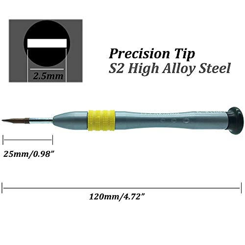 Flat Head Screwdriver 2.5mm, Slot-head Precision Screwdriver -2.5mm, S2 High Alloy Steel Flat Blade, Magnetic Tip, Rotating Cap, Anti-slip Grip, Small Slotted Screwdriver Hand Tool for Maintenance