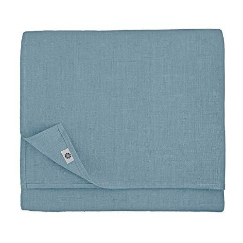 Linen & Cotton - Mantel de Tela de Lujo CAERULA, Rectangular -100% Lino (Azul, 147 x 147cm)