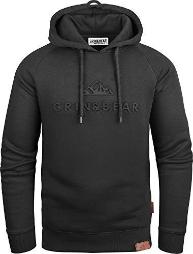 Grin&Bear Hoodie mit gestempeltem Design Logo schwarz L GEC540