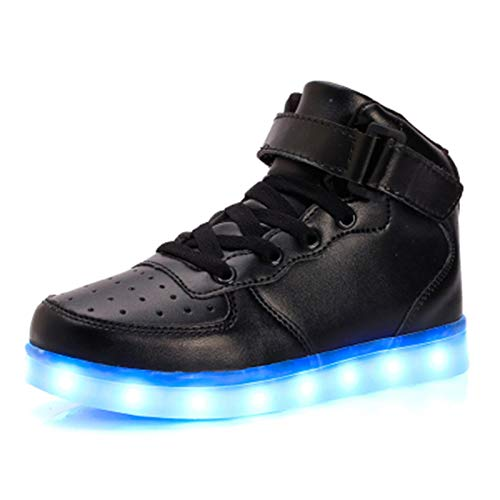 IGxx High Top LED Sneakers for Kids Light Up Shoes Lights Shoes for Boys Girls USB Charging Flashing Luminous Trainers for Festivals, Thanksgiving, Christmas, New Year, Party Gift Black