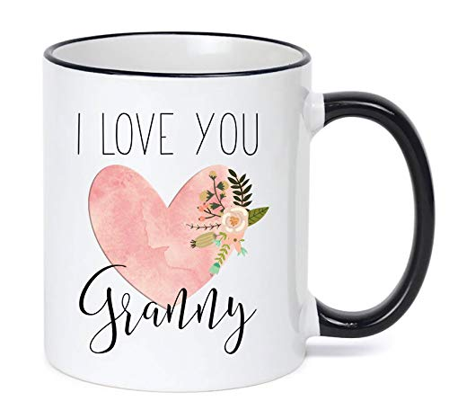 Pottelove Personalized Funny Coffee Mug Tea Cups, Valentine Granny Mug I Love You Granny Gifts Heart Granny Mug Pink Granny Coffee Mug Granny Mug 11 Oz White
