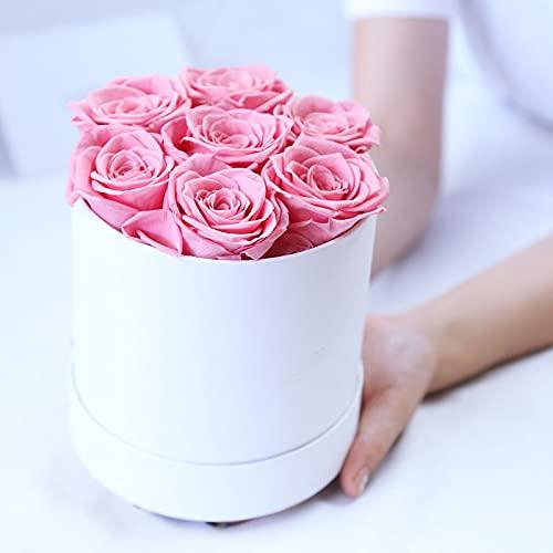 Rosas conservadas hechas a mano en caja de rosas duraderas en caja redonda para San Valentín, Día de la Madre, cumpleaños, Navidad, aniversario, boda, Acción de Gracias (rosa)