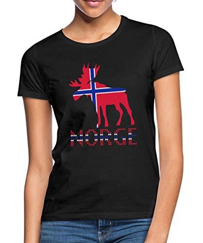 Moose, Elche, Norge, Noreg, Norway, Norwegen, Flags, Flaggen, Länder, Countries, Eushirt.com Frauen T-Shirt, L, Schwarz
