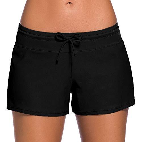 Yuson Girl Deportivo Traje De Baño Bañadores De Mujer Natacion Shorts De Baño Falda De Bikini Encaje con Cordon Ajustable Drawstring Boyleg Baño Bragas Pantalones Cortos Braguita Bikini Mujer