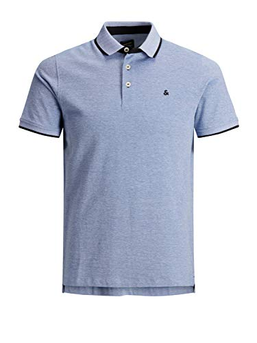 JACK & JONES Herren Jjepaulos Polo Ss Noos Poloshirt, Blau (Bright Cobalt Detail: Slim Fit), S