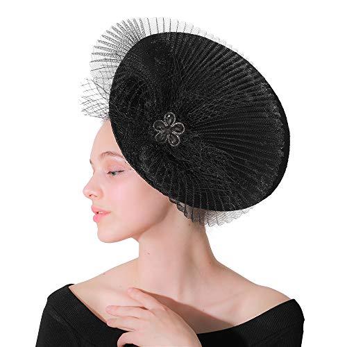 Jklj Pince à Cheveux Coiffe De Plumes Plume Cheveux Bandeau Net Fleur Hairpin for Cocktail de Mariage Tea Party Rétro