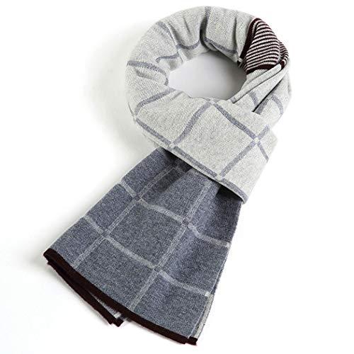 YONGYONG-scarf Herrenschal Winter 100% Australischer Reiner Wollschal Herren Einfache Junge Karierte Wolle Schal Geschenkbox 175cm (Color : Light Gray)