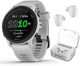 Garmin Forerunner 745 GPS Running and Triathlon Smartwatch Whitestone with Wearable4U White Earbuds with Charging Power Bank Case Bundle