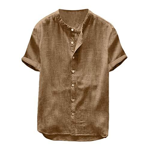 Xmiral Uomo Camicia Biancheria da Uomo in Cotone Rigato in Lino Tinta UnitaCamicetta a Maniche Corte T-Shirt (S,16- Cachi)