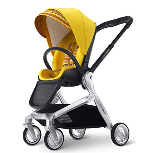 ZYM Cochecito de muñeca Cochecito recién Nacido, Cochecito de niños Plegable de Dos vías, de Alta Paisaje Puede llevarse en el avión, con la Cesta (Color : Yellow)