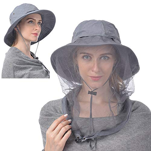 Outdoor Hut mit Moskito Kopfnetz, Breiter Rand Sonnenhut Sommer UV Schutz Bucket Hat Faltbarer Angelhut, Gesichtsschutz Outdoor Angelausrüstung für Männer Frauen