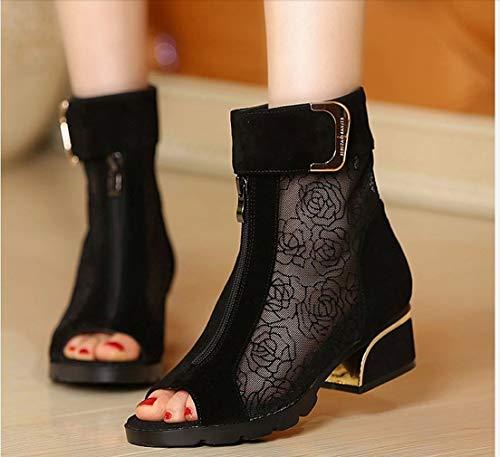 MKXF Sandalias de Gran tamaño Mediados Botas talón de la Manera Gasa del talón Grueso de la Mujer,Negro,43
