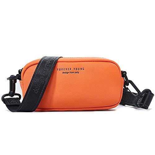 WANYIG Handyumhängetasche Damen Schultertasche PU Leder Handy Schultertasche Frauen Brieftasche Cross-Body Tasche Kosmetiktasche für Handy unter 7 Zoll(Orange)