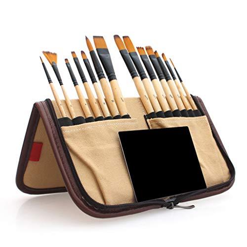 RROVE 14 Piezas Pinceles Acrílico Pincel de Acuarela con Estuche de lápices Bolsa de Almacenamiento para Artistas Escolares Pintura Dibujo Amarillo