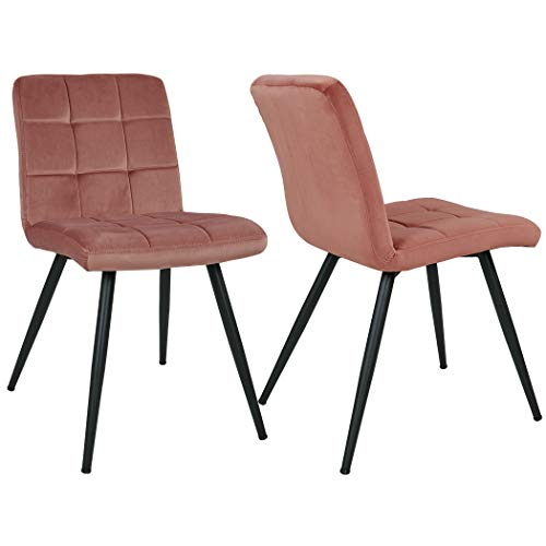 Esszimmerstuhl aus Stoff Samt Farbauswahl Stuhl Retro Design Polsterstuhl mit Rückenlehne Metallbeine Duhome 8043B, Farbe:Pink, Material:Samt