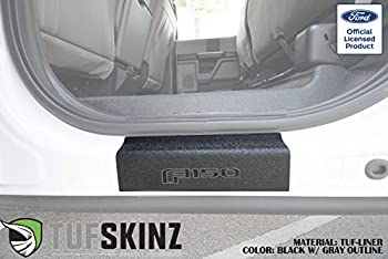TufSkinz | Rear Door Sill Protection - Compatible with 2015-Up Ford F-150-2 Piece Kit  TUF-Liner Black w/Gray Outline Logo …