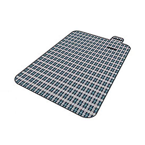 manta de picnic,Espesar la estera del piso de la carpa de campo al aire libre, estera de picnic portátil de picnic 150 * 200cm-Oxford rejilla azul y verde