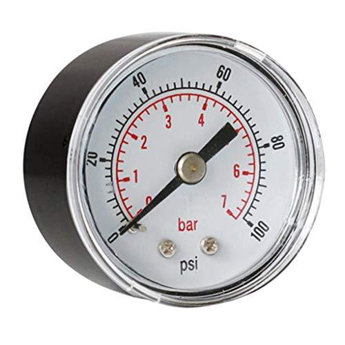 LKK-KK Medidor de presión de 40 mm neumático 0-100 psi 0-7 manómetro de presión, montaje horizontal
