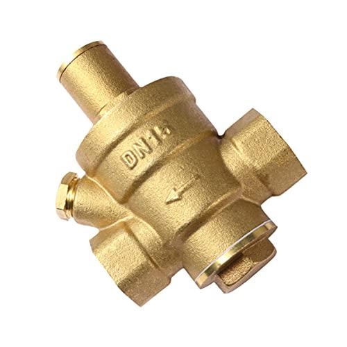 VILLCASE Regulador de Presión de Agua Válvula Reductora de Presión Ajustable Válvula de Agua de Latón con Manómetro DN15 4 Cent para RV (Pesado)