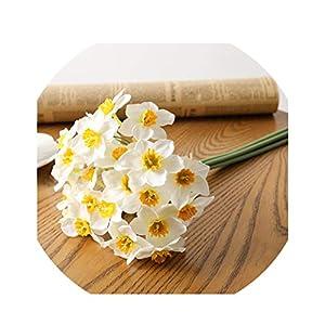 6pcs/Lot Home Room Artificial Simulation Narcissus Flower Living Room Window Decor Fake Flowers Wedding Scene Decor Daffodil 40cm