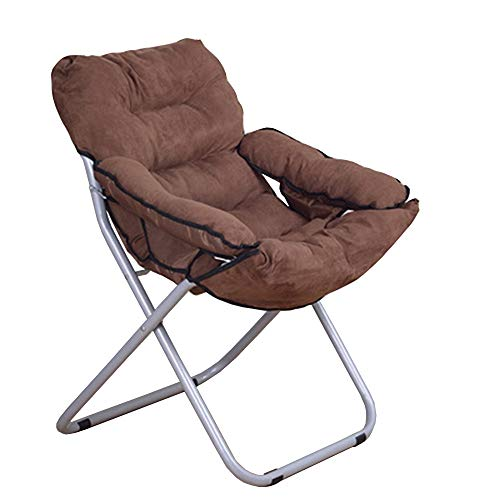 Axdwfd Chaise longue Lounge Chair, Tissu Simple Bureau Balcon Pause-Déjeuner Lounge Chair Unique Créative Chaise D'ordinateur Maison Pliante Chaise Paresseuse 80 * 51 * 76CM (Couleur : Brown)