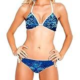 Bikini de Dos Piezas para Mujer, Trajes de baño, Trajes de baño, remolinos ornamentados Azules, árbol de Invierno