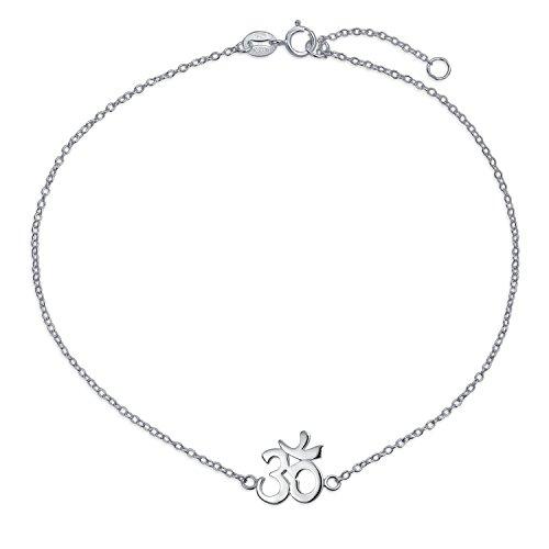 Aum Om Ohm Sanskrit Symbol Yoga Anklet Religious Charm Anklet Link Ankle Bracelet For Women .925 Silver Adjustable 9 To 10 Inch With Extender