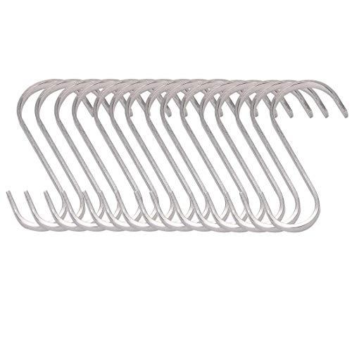 DyniLao, 15 piezas, gancho para colgar en forma de S, 304 de acero inoxidable, 75 mm, abrazadera para toalla, ganchos de cocina para el hogar, gancho para ahorrar espacio, tono plateado