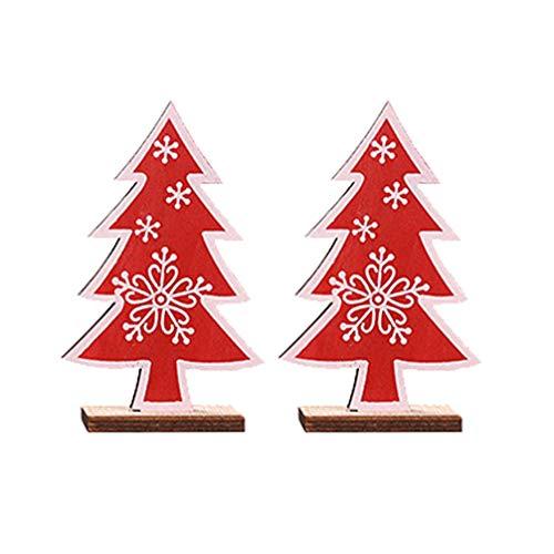SUPVOX - Set di 2 mini tavolini in legno per feste di Natale, a forma di cuore, colore: rosso
