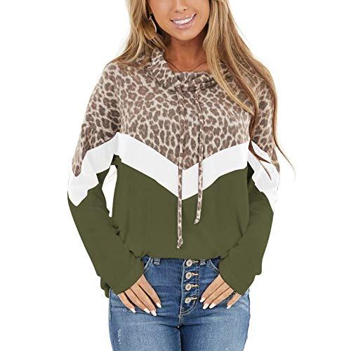 Hoodies Damen Pullover Kapuzenpullover Leopard Sweatshirt Pulli Zweifarbige...
