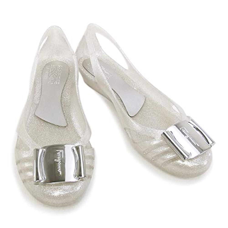 [サルヴァトーレ フェラガモ] 靴 レディース ロゴプレート付き ラバーシューズ パンプス グリッター系シルバー (BERMUDA 0621406 SLV) [並行輸入品]