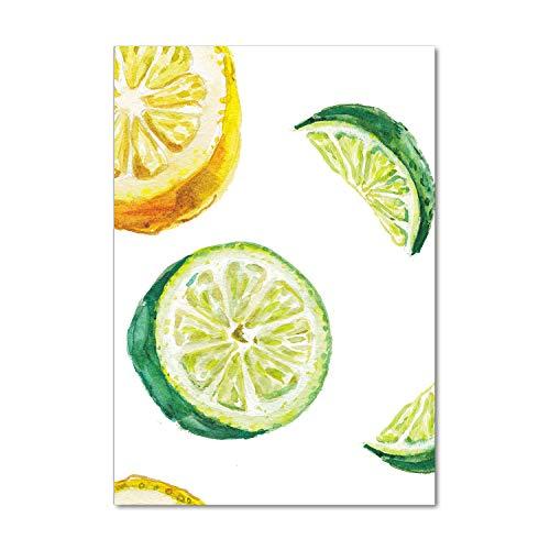 Tulup Impresión en Vidrio - 70x100cm - Cuadro sobre Vidrio - Pinturas en Vidrio - Cuadro en Vidrio - Impresiones sobre Vidrio - Cuadro de Cristal - Comidas Y Bebidas - Verde - Limas Y Limones