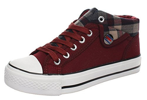 iMaySon Casual Fashionable Lace-up Plaid Plats Canvas Shoes for Women(8 B(M) US, Red)
