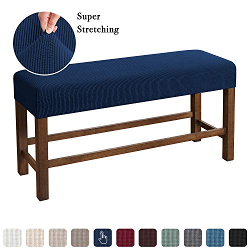 Flamingo P Bench Covers High Stretch Bench Slipcover Rectangle for Dining Room Bench Cushion Covers Indoor Bench Cushion Slipcovers Thicker Jacquard Non Slip with Security Straps (Medium - Navy)