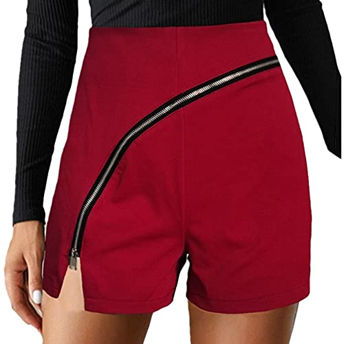 N\P Casual Women's Solid Color Personalized Diagonal Zipper Split Casual Shorts Red