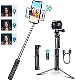 Mpow Perche Selfie Bluetooth, All en 1 Selfie Stick Trépied Bton de Monopode avec Télécommande Rechargeable et Lumière d'appoint pour iPhone 11/XS Max/XR/X/8, Samsung, Huawei, Sony, Gopro/Caméra