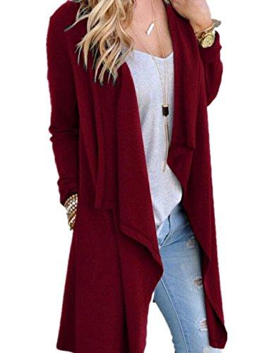 SwissWell Damen Strickjacke Cardigan Pullover Blazer Oberteil Open Front Jacke Mantel Langarm Loose mit Taschen Weinrot 2XL