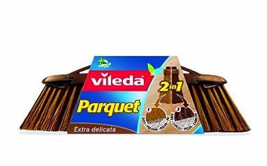 Foto di Vileda Scopa 2 in1 Parquet, Scopa per Interni, con Due Tipi di Fibre, per Polveri, per Capelli, Fibre in PET Riciclato, 14.5 x 33 x 5.5 cm, 99.8 g