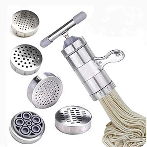 Máquina de fideos manual, máquina de pasta portátil de acero inoxidable, artilugios de cocina para hacer pasta, macarrones y jugo de acero inoxidable plata