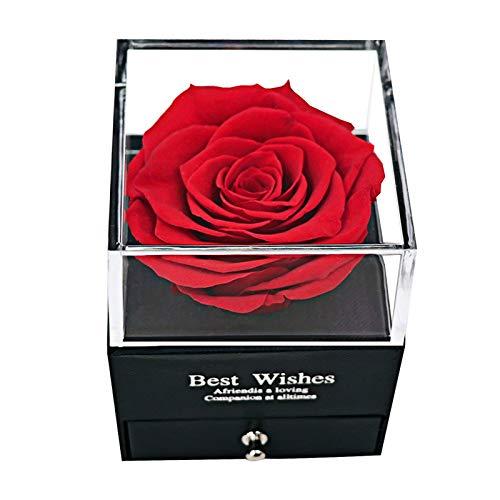 MINCHEDA Rosa Eterna Rojo, Regalo de Originales Caja de Regalo de Joyería para Mamá en Día de la Madre/Día de San Valentín/Cumpleaños/Aniversario